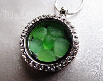 Reversible Sea Glass Locket - Kelly Green - Sea Glass Necklace - Unique jewelry - Beach Glass Jewelry