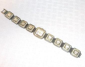 Clearance 50's 60's Vintage Lady's Chunky Rhinestone Bracelet Watch by Corsage