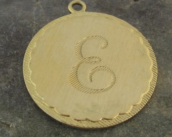 Large Round Brass Letter E Initial Charms for Bracelets or Pendants 1473E - 2 Pieces