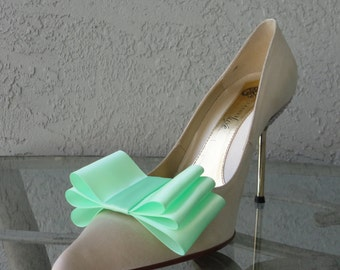 Mint Satin Ribbon Bow Shoe Clips Set Of Two, More Colors Available