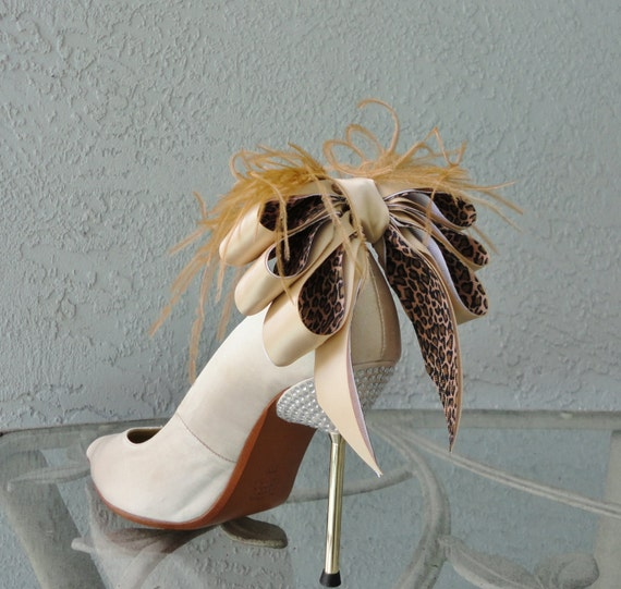 Bridal Formal Sexy Shoe Clips Nude And Animal Print Satin Ribbon  Bow And Feather More Colors