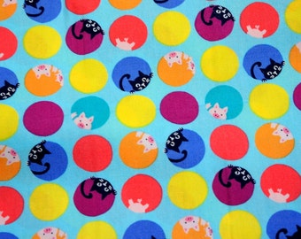 Japanese fabric pig and cat print 50 cm by 53  cm Fat quarter nc51