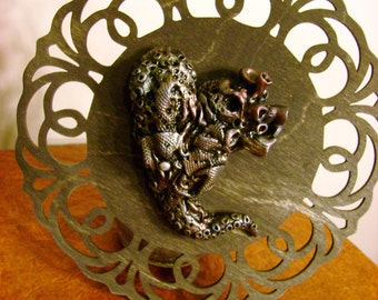 Heartwreck - Deranged Ocean Inspired Heart - Steampunk Industrial Plaque
