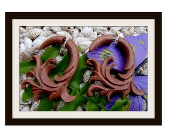 Fake Gauge Earrings - hand carved ,Wood ,Organic ,Tribal ,Expander,Split ,fake piercings