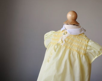 1960s Smocked Yellow Dress, size 6 months