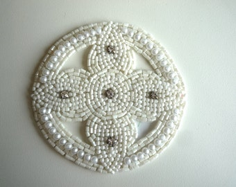 BEADED WEDDING APPLIQUE,  Pearls and Rhinestone   / A - 16