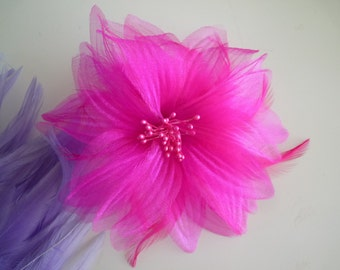 SILK PEONY FLOWER with feathers, Hot Pink  / F - 01