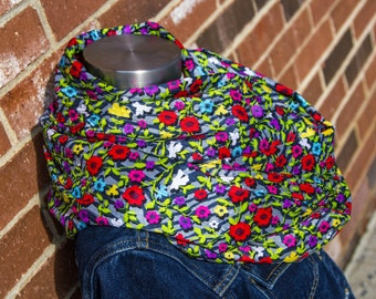 Crinkled Flowers Lightweight Spring & Summer Infinity Scarf