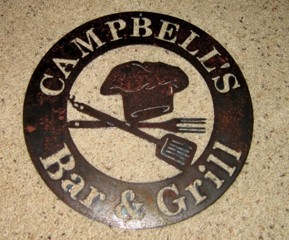 Customized Bar & Grill Sign-metal art, steel art, bar art, bbq sign, home decor, wall art