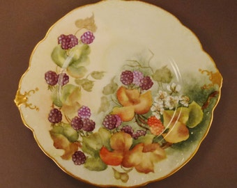 VICTORIAN BAVARIA Plate Blackberries  Sweet meat DISH Gold Purple Signed by artist 1904 app 11 x 9 Germany