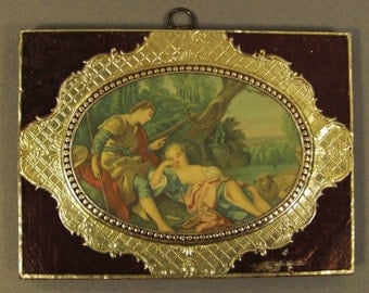 FRENCH Courting couple  painting  Print  gold foil frame decorative 4/ 5 x 5 /5 1950s