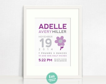 Flower Wall Art // Custom Birth Announcement Print // Nursery Print // Birth Stat Poster // Purple, Grey, Pink // Baby Girl // 8x10 Print