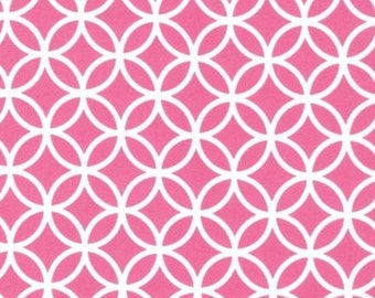 Cozy Cotton flannel In Pink and White Modern Graphic Circles for Robert Kaufman - 1 yard