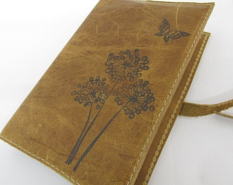 leather journal sketchbook hand-printed for you free customization