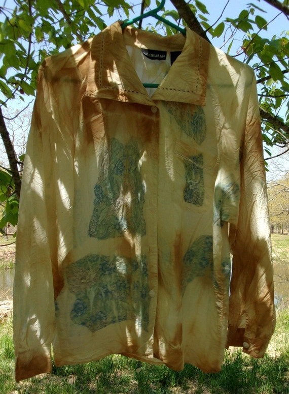 Hand Dyed Eco Clothing     Silk on Silk  Woman's Blouse
