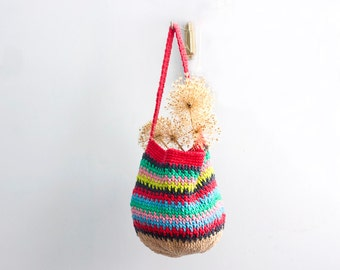 Rainbow Cotton Market Tote, Grocery Tote Bag,  Market Bag, Hand Crocheted,  Book Bag, Beach Bag