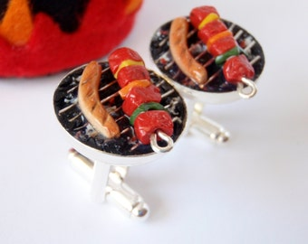 Skewer and Sausage Summer Grill Cufflinks - Miniature Food Art Jewelry Collectable - Schickie Mickie Original - 100% Handmade