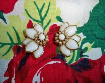 Vintage Kramer Milk Glass Pearl Half Floral Earrings