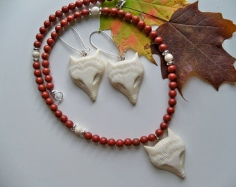 Carved Faux IVORY FOX Pendant and Earrings/Fox Pendant/Fox Earrings/JASPER Necklace