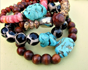 Stackable Stretch Wood and Gemstone Strong Elastic Bracelets Choose Your Style: Bazaar