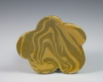 Glossy Orange Tan Marbled Soap Dish With Four Feet
