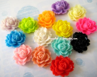 SALE  assorted colors Rose cabochon flat back 15mm- cabochon flowers for hair clips,bobbi pins
