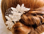 Wedding hair accessories, birdcage veil, Rhinestone hair comb bridal, Bridal Headpieces, Ivory hair accessories