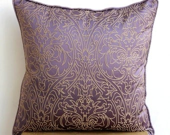 "Handmade Purple Pillows Cover, 16""x16"" Silk Pillows Covers For Couch, Square  Gold Damask Embroidered Pillows Cover - Purple & Gold"