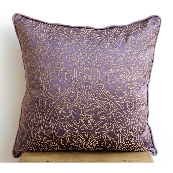 Handmade Purple Pillows Cover Gold Damask Embroidered