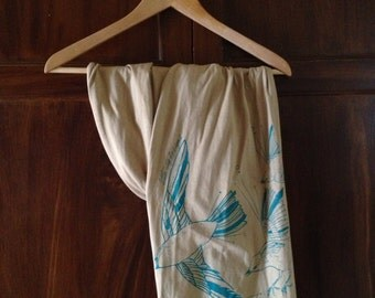 LAST ONE! Fly Away Sparrow Scarf in 100% Organic Cotton - Cerulean Blue on Sandstone