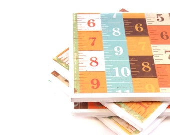 Rulers - Orange, Light Blue, White and Brown - Ceramic Tile Coasters