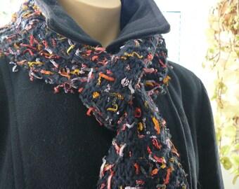 Narrow Navy Blue Scarf, Eyelash Yarn, Handmade Scarf, Winter Scarf for Her, Navy Blue Scarf with flecks, Warm Winter Scarf