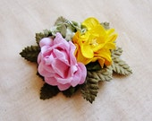 Rosemary, Saffron, Pink Roses Mixed bunch Vintage style Millinery Flower spray Bouquet- corsage, floral shabby chic 32114 OOAK