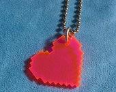 Pixel Heart Acrylic Necklace