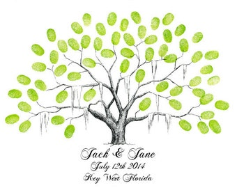 Wedding Guestbook Fingerprint Tree Poster Keepsake / Pen and Ink Drawing / Family Tree