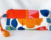 Wristlet Clutch Bag, Wristlet Bag, Zipper Pouch, Clutch Purse, Wallet Wristlet Funny Flowers, Zipper Purse Helen Trast Ikea Fabric