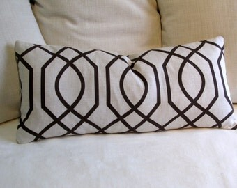 EARTHY CHOCOLATE  geometric 12x26 Large Pillow comes with insert