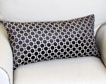 BLACK Raised Velvet geometric  pillow 13x26