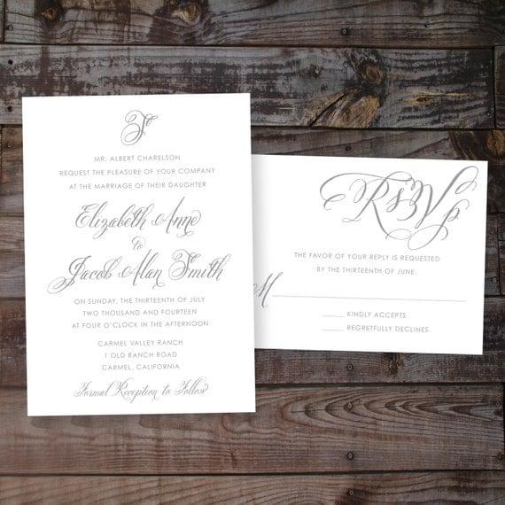 Formal calligraphy script wedding invitation diy by annamalie
