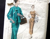 1950s Vintage Sewing Pattern - Vogue 7900 - One Piece Sheath Wiggle Dress with Slim Skirt and Jacket / Size 12