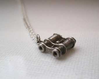 Vintage Sterling Silver Binoculars Necklace