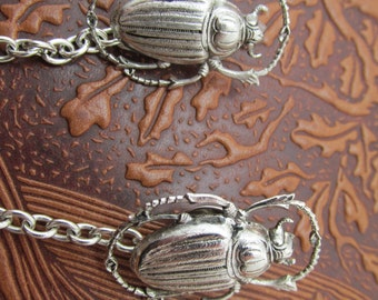 Scarab Sweater clips scarab tie tacks Cardigan clips collar clips silver sweater guard Egyptian revival cardigan clips