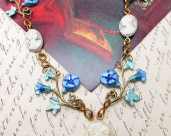 Cameo Bridal necklace cameo necklace Vintage necklace womens necklaces morning glories jewelry brass with enamel painting Art Nouveau