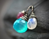 Wire Wrapped Trio - Aqua Blue Chalcedony Rainbow Moonstone Pink Tourmaline Briolette Sterling Silver Necklace