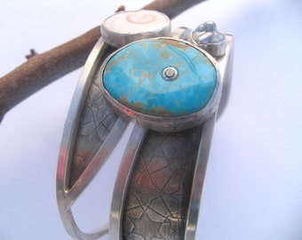Turquoise inlaid Champagne Diamond, Shell, Keshi, Bracelet. Original design by Marc Gounard of Sausalito, CA. Recycle Sterling silver .