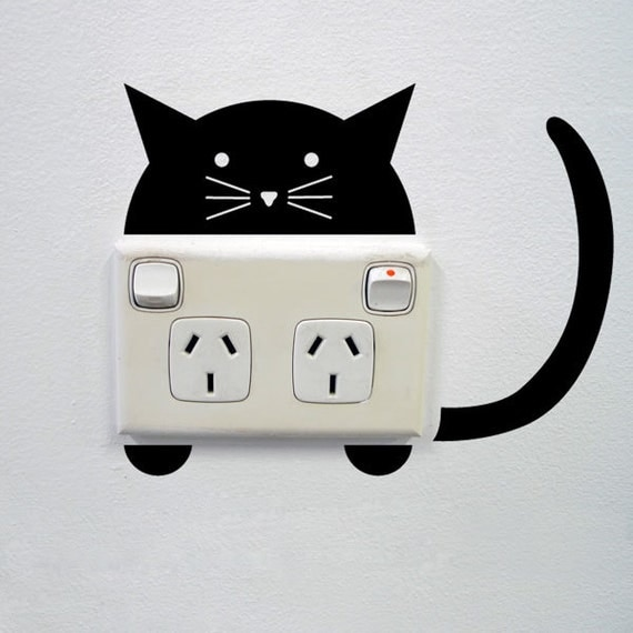cat wall sticker for power points and light switches peeking cat wall sticker stickerscape uk