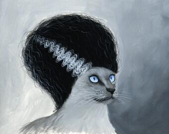 "Fun cat art print ... Abstract cat Art ... Bride of Frankenstein, 8 1/2"" x 11"" Print of cat painting"