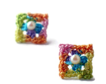 Crochet Earrings Mini Granny Square Studs Earrings Yellow Spring Green Purple Pink Peach Blue