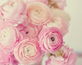 Ranunculus Photo, Pink Ranunculus, Shabby Chic Decor, Ranunculus Bouquet,  Ranunculus Print,  Pink, Nursery Art, Flower Photography, Nature