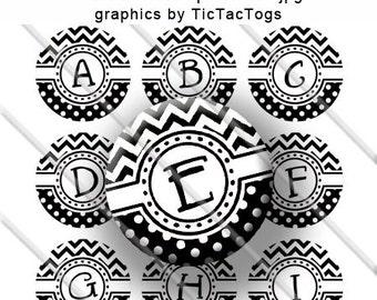 Black White Chevron Polka dot Bottle Cap Images Digital 1 Inch Circle Alphabet Alpha Digi - Instant Download - BC303